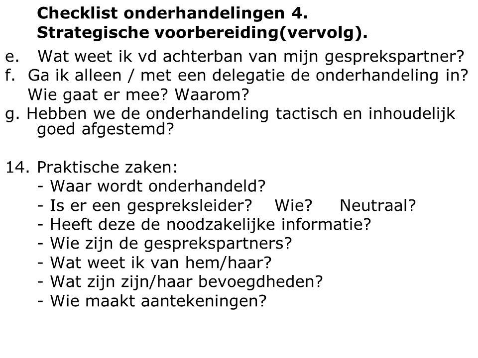 Checklist onderhandelingen 4. Strategische voorbereiding(vervolg). e. Wat weet ik vd achterban van mijn gesprekspartner? f. Ga ik alleen / met een del