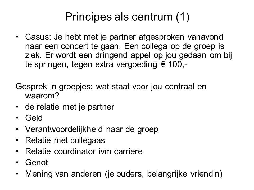 Principes als centrum (1) Casus: Je hebt met je partner afgesproken vanavond naar een concert te gaan. Een collega op de groep is ziek. Er wordt een d