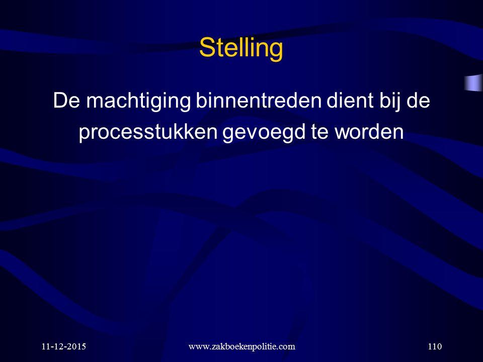 Stelling De machtiging binnentreden dient bij de processtukken gevoegd te worden 11-12-2015www.zakboekenpolitie.com110