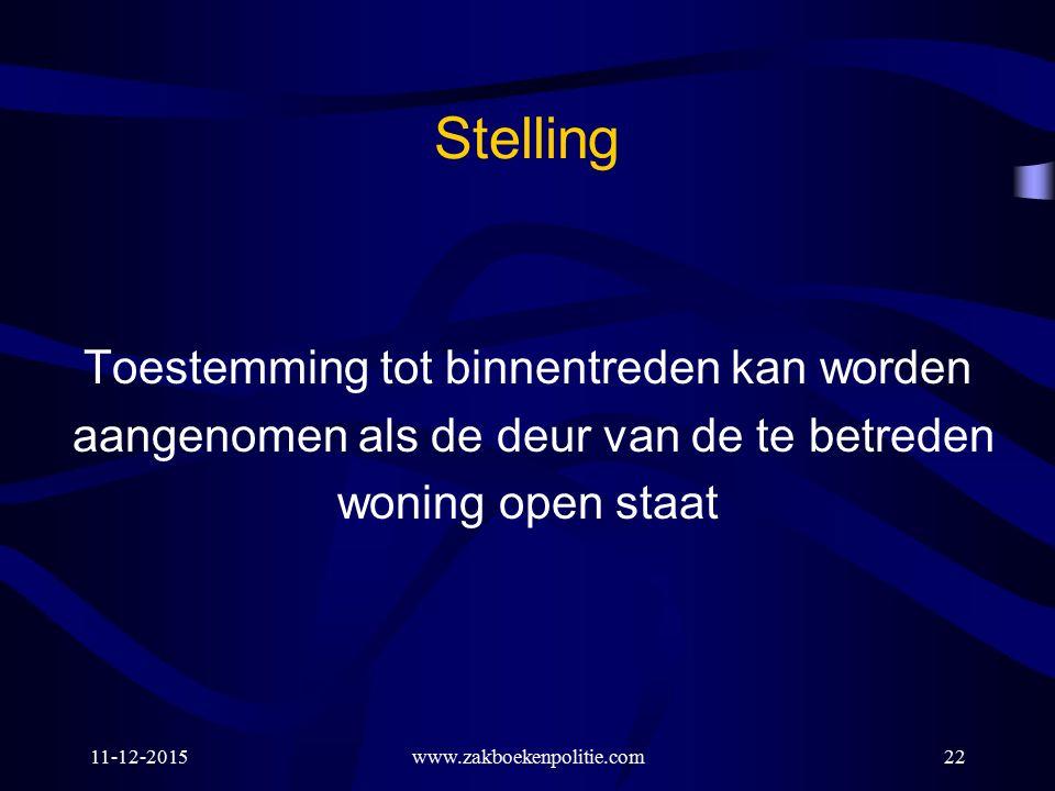 Stelling Toestemming tot binnentreden kan worden aangenomen als de deur van de te betreden woning open staat 11-12-2015www.zakboekenpolitie.com22