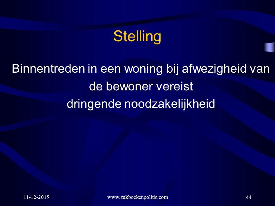 Stelling Binnentreden in een woning bij afwezigheid van de bewoner vereist dringende noodzakelijkheid 11-12-2015www.zakboekenpolitie.com44