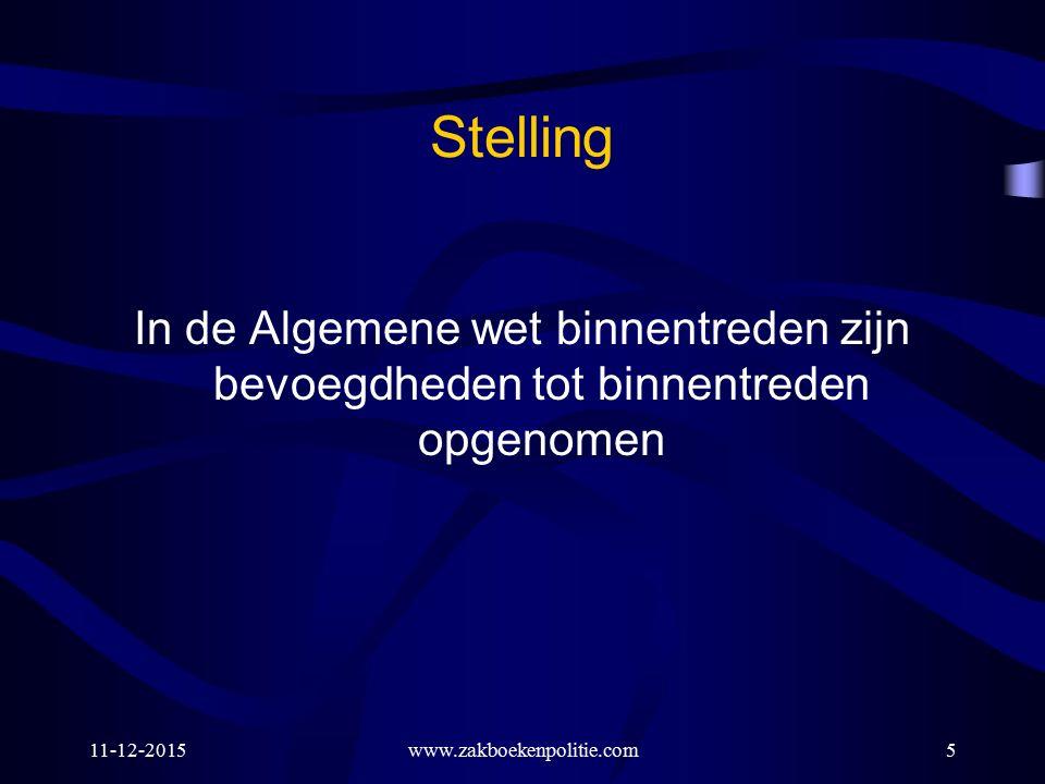 Stelling In de Algemene wet binnentreden zijn bevoegdheden tot binnentreden opgenomen 11-12-2015www.zakboekenpolitie.com5