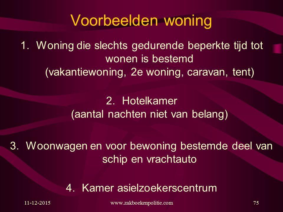 Voorbeelden woning 1.Woning die slechts gedurende beperkte tijd tot wonen is bestemd (vakantiewoning, 2e woning, caravan, tent) 2.Hotelkamer (aantal n