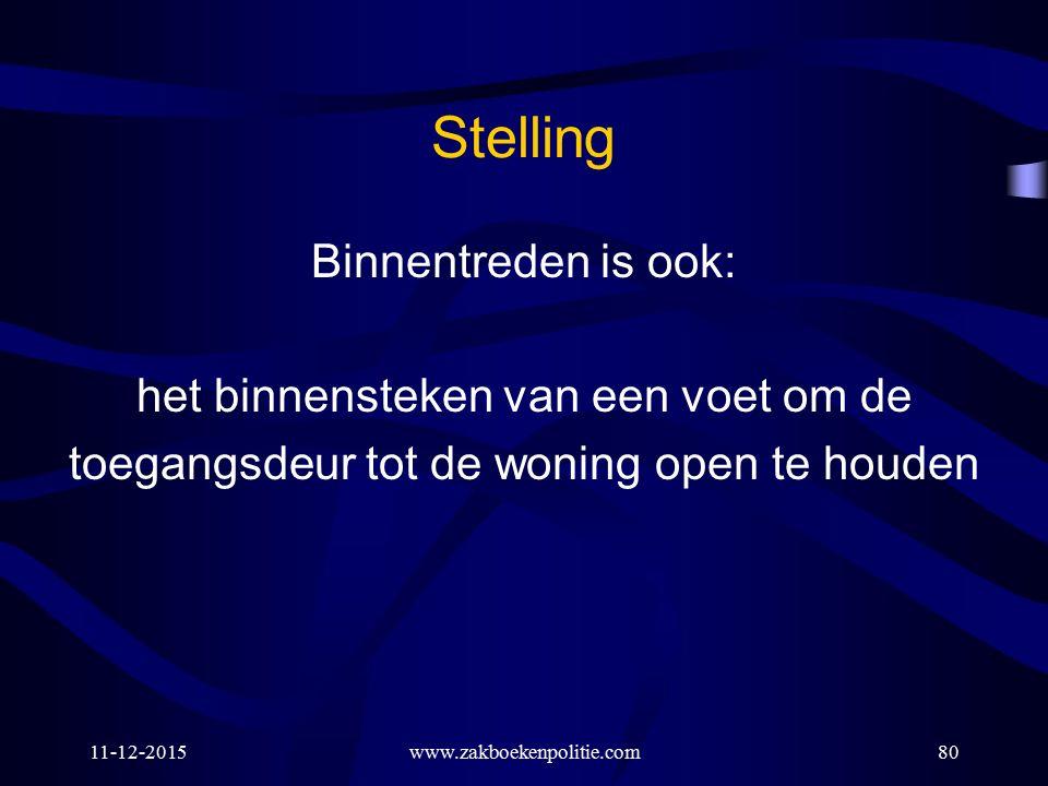 Stelling Binnentreden is ook: het binnensteken van een voet om de toegangsdeur tot de woning open te houden 11-12-2015www.zakboekenpolitie.com80