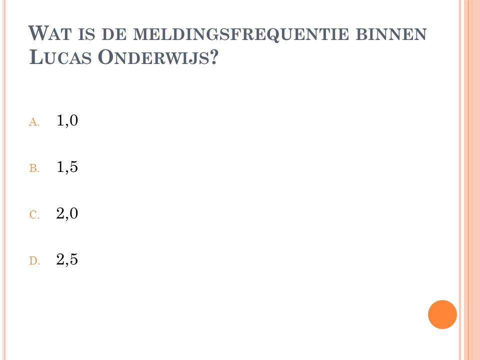 W AT IS DE MELDINGSFREQUENTIE BINNEN L UCAS O NDERWIJS ? A. 1,0 B. 1,5 C. 2,0 D. 2,5