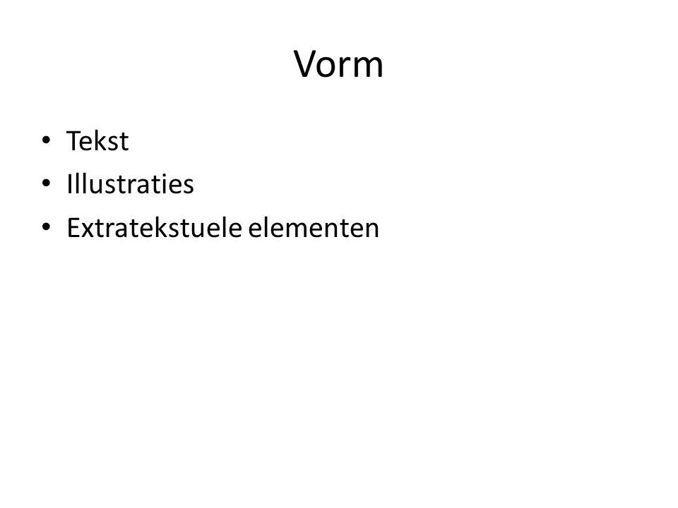 Vorm Tekst Illustraties Extratekstuele elementen