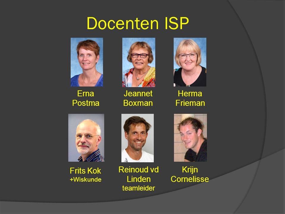 Docenten ISP Frits Kok +Wiskunde Reinoud vd Linden teamleider Jeannet Boxman Herma Frieman Erna Postma Krijn Cornelisse