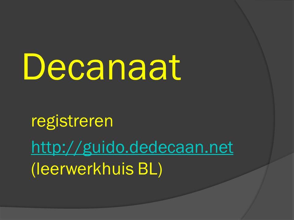 Decanaat registreren http://guido.dedecaan.net (leerwerkhuis BL) http://guido.dedecaan.net