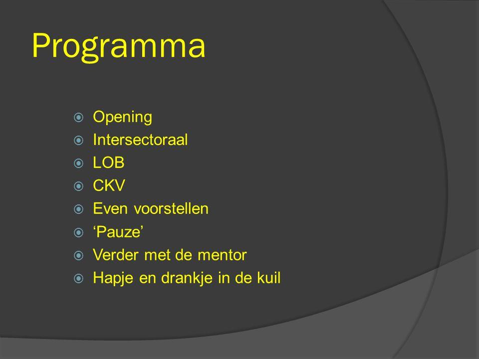 Programma  Opening  Intersectoraal  LOB  CKV  Even voorstellen  'Pauze'  Verder met de mentor  Hapje en drankje in de kuil