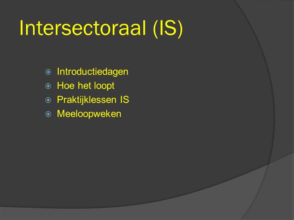 Intersectoraal (IS)  Introductiedagen  Hoe het loopt  Praktijklessen IS  Meeloopweken