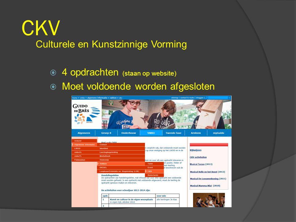 CKV Culturele en Kunstzinnige Vorming  4 opdrachten (staan op website)  Moet voldoende worden afgesloten