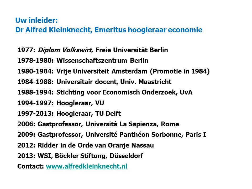 Uw inleider: Dr Alfred Kleinknecht, Emeritus hoogleraar economie 1977: Diplom Volkswirt, Freie Universität Berlin 1978-1980: Wissenschaftszentrum Berlin 1980-1984: Vrije Universiteit Amsterdam (Promotie in 1984) 1984-1988: Universitair docent, Univ.