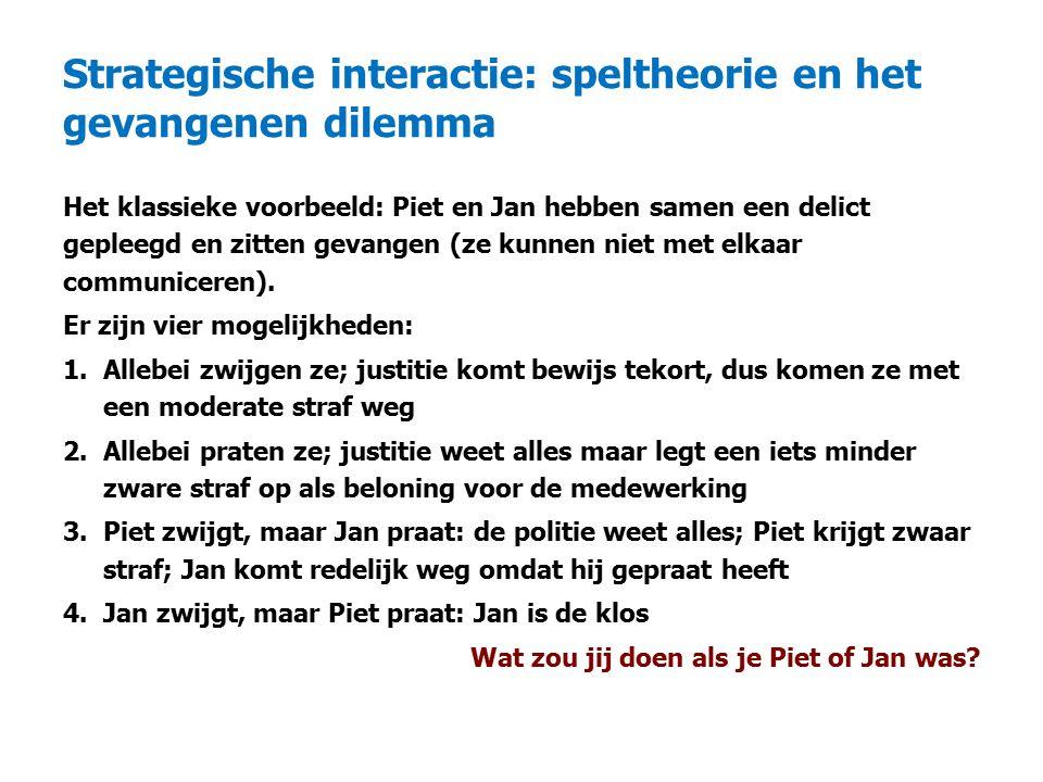 Strategische interactie: speltheorie en het gevangenen dilemma Het klassieke voorbeeld: Piet en Jan hebben samen een delict gepleegd en zitten gevangen (ze kunnen niet met elkaar communiceren).