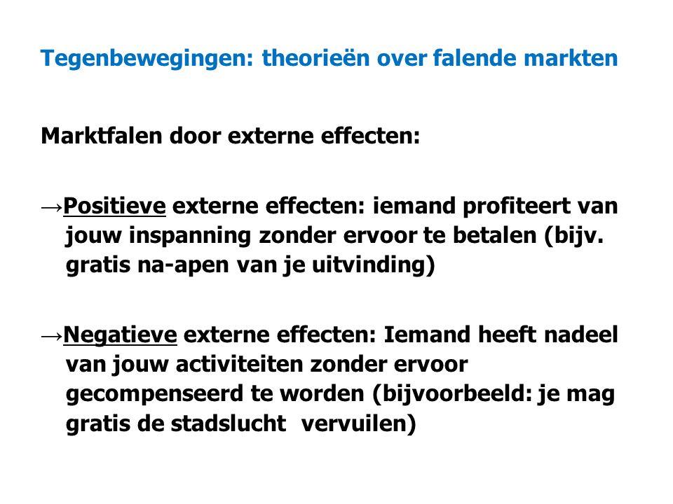 Tegenbewegingen: theorieën over falende markten Marktfalen door externe effecten: → Positieve externe effecten: iemand profiteert van jouw inspanning zonder ervoor te betalen (bijv.
