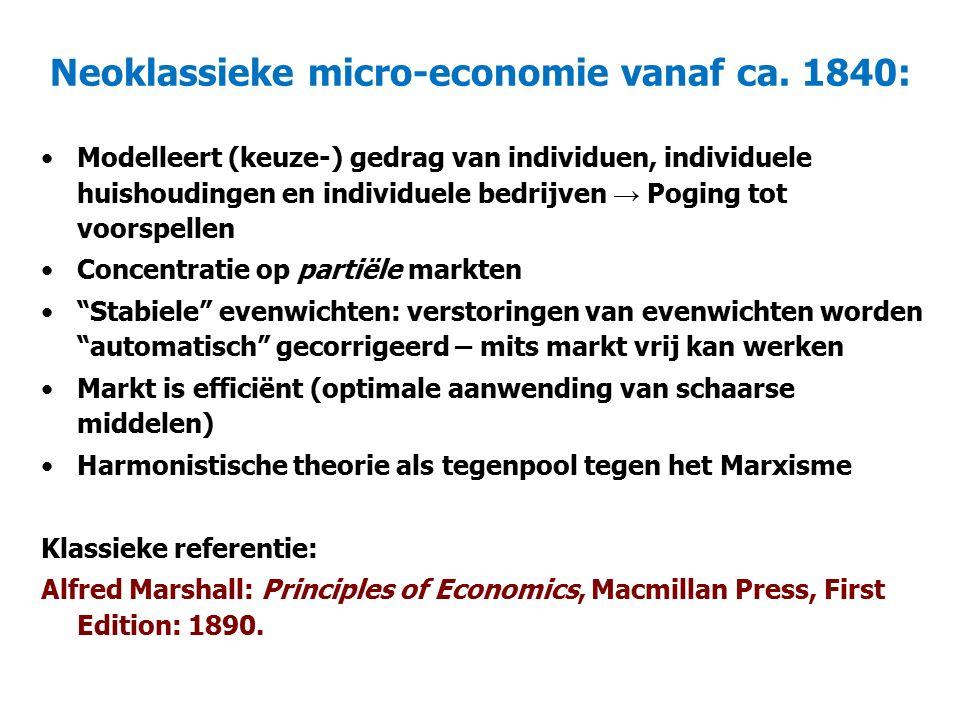 Neoklassieke (micro-) economie: Concept van de 'ideale' markt (volledige mededinging): Een groot aantal kopers en verkopers: Niemand heeft marktmacht (men moet prijs accepteren) Homogene producten: Iedereen produceert dezelfde kwaliteit Vrije toe- en uittreding tot markten (Productiefactoren zijn mobiel; iedereen verdient een normale winst) Iedereen heeft perfecte kennis over prijzen, hoeveelheden of technologie Technologie en innovatie als 'manna-from-heaven' ('exogeen') Geen transactiekosten Goede garantie eigendomsrechten Vraag: zijn er markten die aan dit ideaal voldoen?