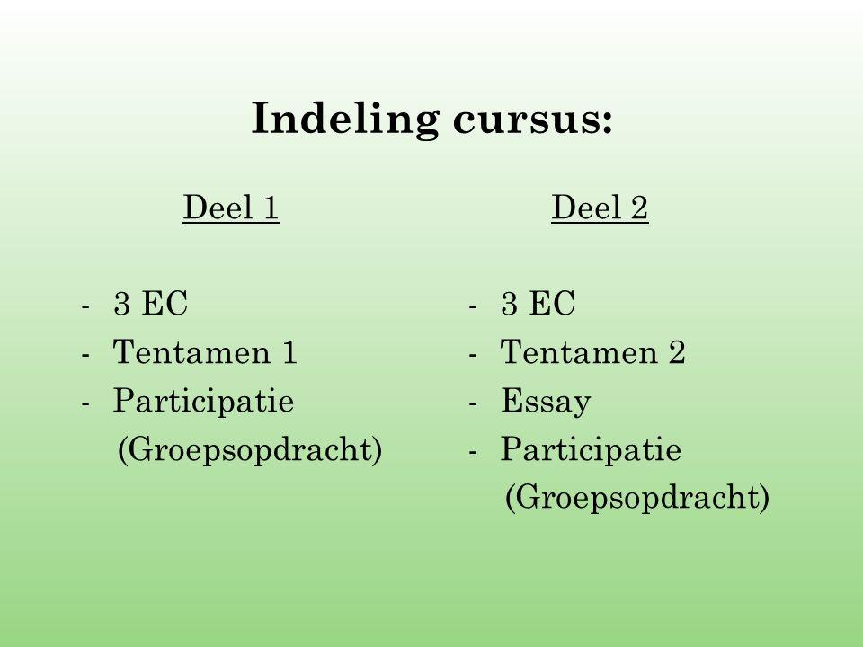 Indeling cursus: Deel 1 -3 EC -Tentamen 1 -Participatie (Groepsopdracht) Deel 2 -3 EC -Tentamen 2 -Essay -Participatie (Groepsopdracht)