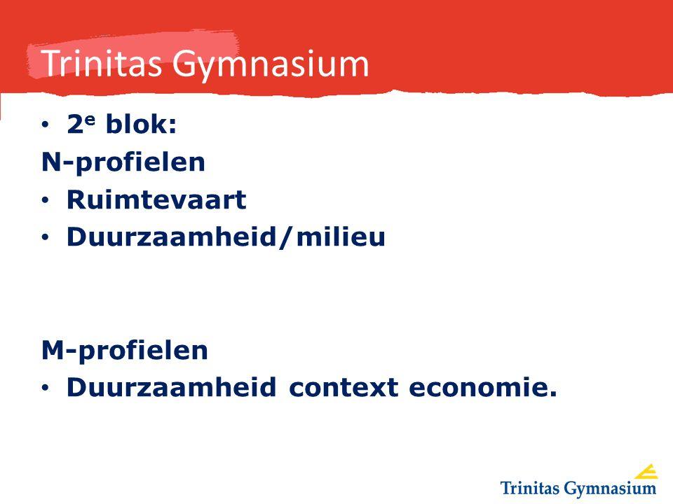 Trinitas Gymnasium 2 e blok: N-profielen Ruimtevaart Duurzaamheid/milieu M-profielen Duurzaamheid context economie.