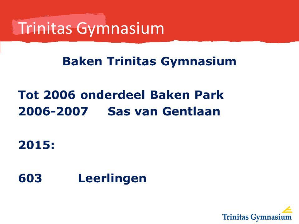 Trinitas Gymnasium Baken Trinitas Gymnasium Tot 2006 onderdeel Baken Park 2006-2007 Sas van Gentlaan 2015: 603 Leerlingen