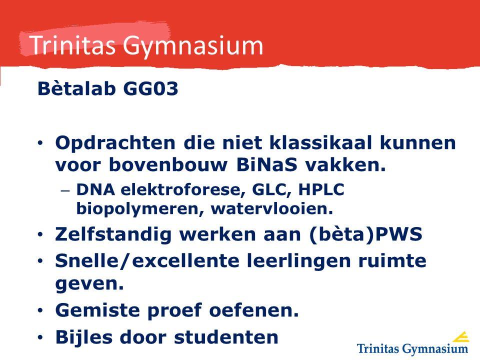 Trinitas Gymnasium Bètalab GG03 Opdrachten die niet klassikaal kunnen voor bovenbouw BiNaS vakken.