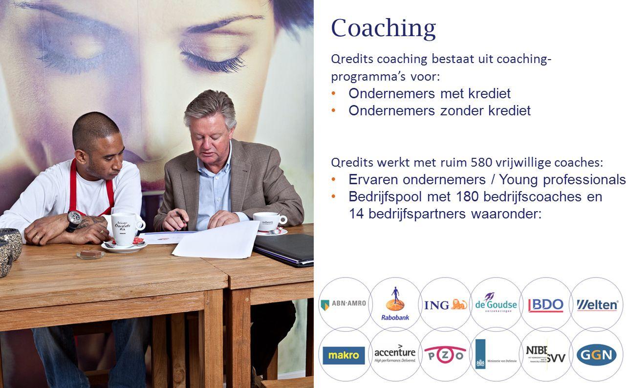 Coaching Qredits coaching bestaat uit coaching- programma's voor: Ondernemers met krediet Ondernemers zonder krediet Qredits werkt met ruim 580 vrijwi
