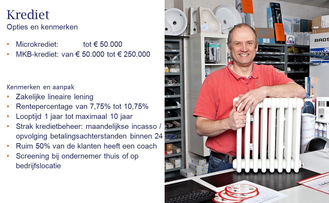 Krediet Microkrediet:tot € 50.000 MKB-krediet: van € 50.000 tot € 250.000 Opties en kenmerken Kenmerken en aanpak Zakelijke lineaire lening Renteperce