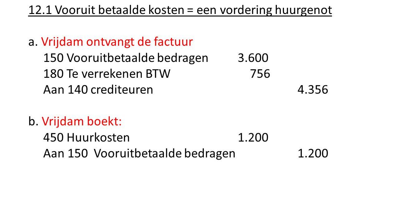 12.1 Vooruit betaalde kosten = een vordering huurgenot a. Vrijdam ontvangt de factuur 150 Vooruitbetaalde bedragen 3.600 180 Te verrekenen BTW 756 Aan