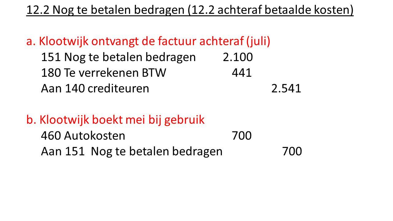 12.2 Nog te betalen bedragen (12.2 achteraf betaalde kosten) a. Klootwijk ontvangt de factuur achteraf (juli) 151 Nog te betalen bedragen 2.100 180 Te
