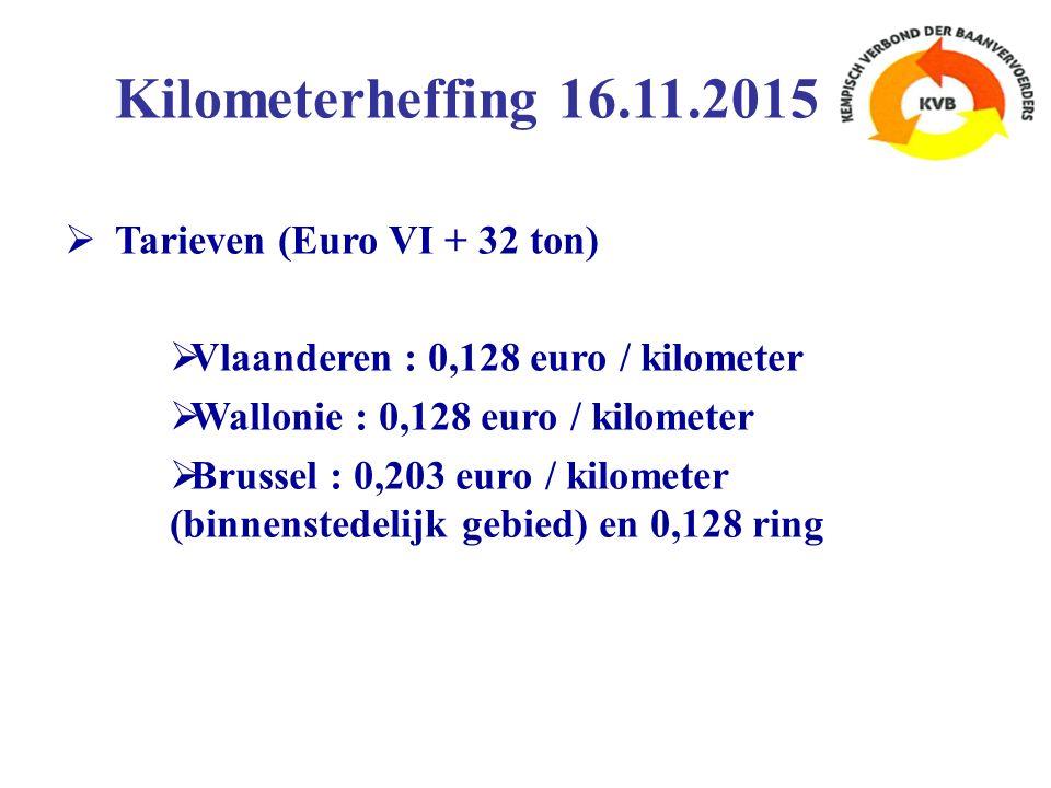  Tarieven (Euro VI + 32 ton)  Vlaanderen : 0,128 euro / kilometer  Wallonie : 0,128 euro / kilometer  Brussel : 0,203 euro / kilometer (binnenstedelijk gebied) en 0,128 ring Kilometerheffing 16.11.2015