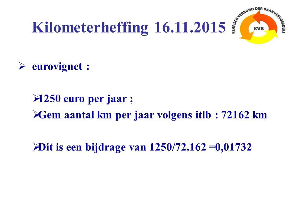  eurovignet :  1250 euro per jaar ;  Gem aantal km per jaar volgens itlb : 72162 km  Dit is een bijdrage van 1250/72.162 =0,01732 Kilometerheffing 16.11.2015
