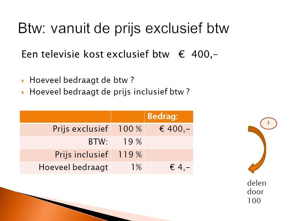 Een televisie kost inclusief btw € 595,-  Hoeveel bedraagt de btw .