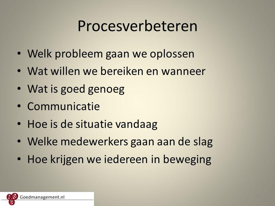 Procesverbeteren Welk probleem gaan we oplossen Wat willen we bereiken en wanneer Wat is goed genoeg Communicatie Hoe is de situatie vandaag Welke medewerkers gaan aan de slag Hoe krijgen we iedereen in beweging 9