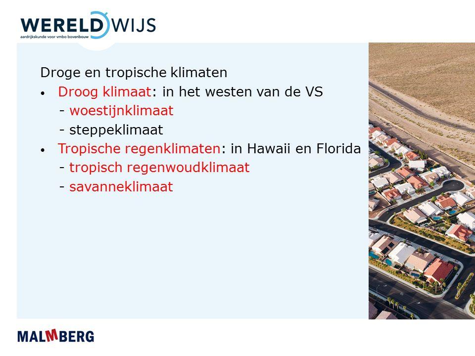 Droge en tropische klimaten Droog klimaat: in het westen van de VS - woestijnklimaat - steppeklimaat Tropische regenklimaten: in Hawaii en Florida - tropisch regenwoudklimaat - savanneklimaat