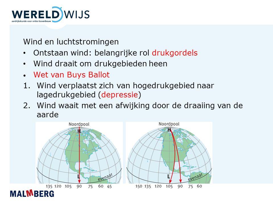 Wind en luchtstromingen Ontstaan wind: belangrijke rol drukgordels Wind draait om drukgebieden heen Wet van Buys Ballot 1.Wind verplaatst zich van hogedrukgebied naar lagedrukgebied (depressie) 2.Wind waait met een afwijking door de draaiing van de aarde