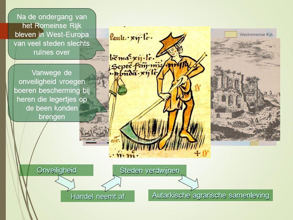 Onveiligheid Handel neemt af Steden verdwijnen Autarkische agrarische samenleving Na de ondergang van het Romeinse Rijk bleven in West-Europa van veel