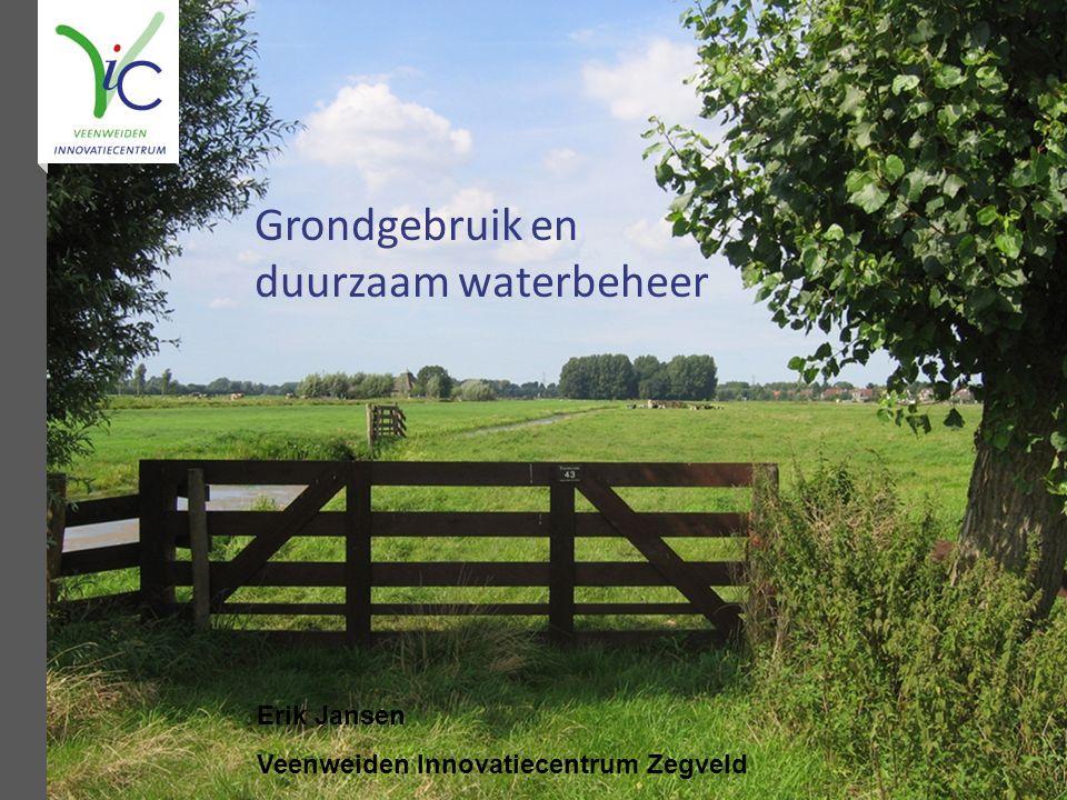 Grondgebruik en duurzaam waterbeheer Erik Jansen Veenweiden Innovatiecentrum Zegveld