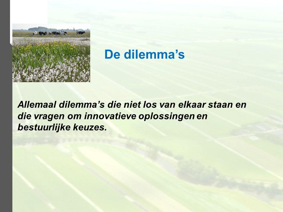 Allemaal dilemma's die niet los van elkaar staan en die vragen om innovatieve oplossingen en bestuurlijke keuzes. De dilemma's