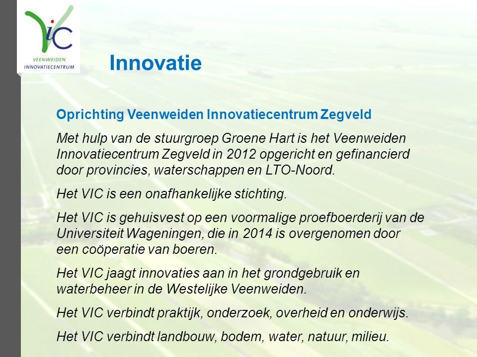 Oprichting Veenweiden Innovatiecentrum Zegveld Met hulp van de stuurgroep Groene Hart is het Veenweiden Innovatiecentrum Zegveld in 2012 opgericht en