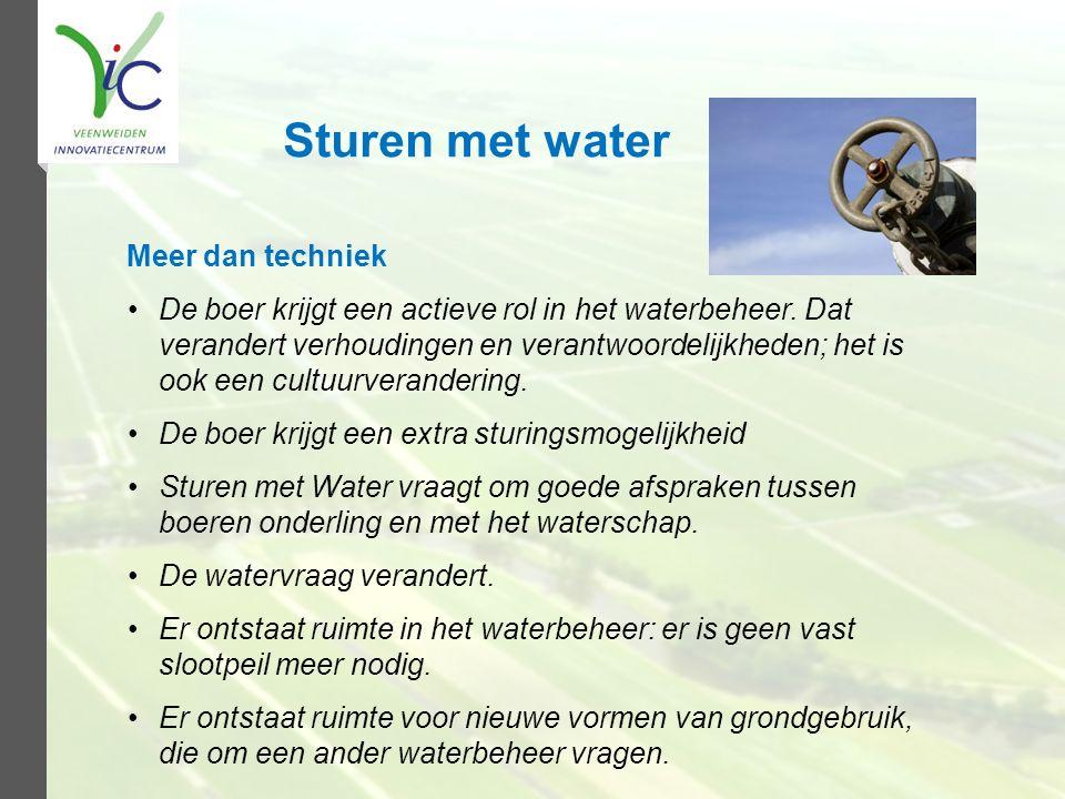 Sturen met water Meer dan techniek De boer krijgt een actieve rol in het waterbeheer. Dat verandert verhoudingen en verantwoordelijkheden; het is ook