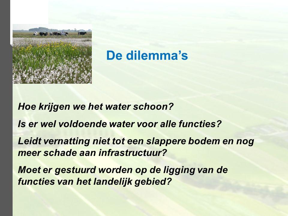 Hoe krijgen we het water schoon? Is er wel voldoende water voor alle functies? Leidt vernatting niet tot een slappere bodem en nog meer schade aan inf