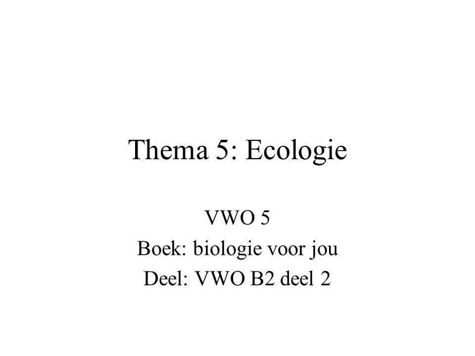 Thema 5: Ecologie VWO 5 Boek: biologie voor jou Deel: VWO B2 deel 2