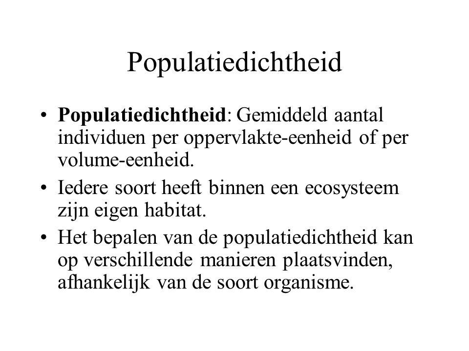 Populatiedichtheid Populatiedichtheid: Gemiddeld aantal individuen per oppervlakte-eenheid of per volume-eenheid.