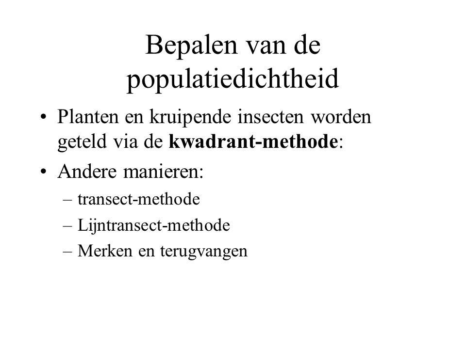Bepalen van de populatiedichtheid Planten en kruipende insecten worden geteld via de kwadrant-methode: Andere manieren: –transect-methode –Lijntransect-methode –Merken en terugvangen