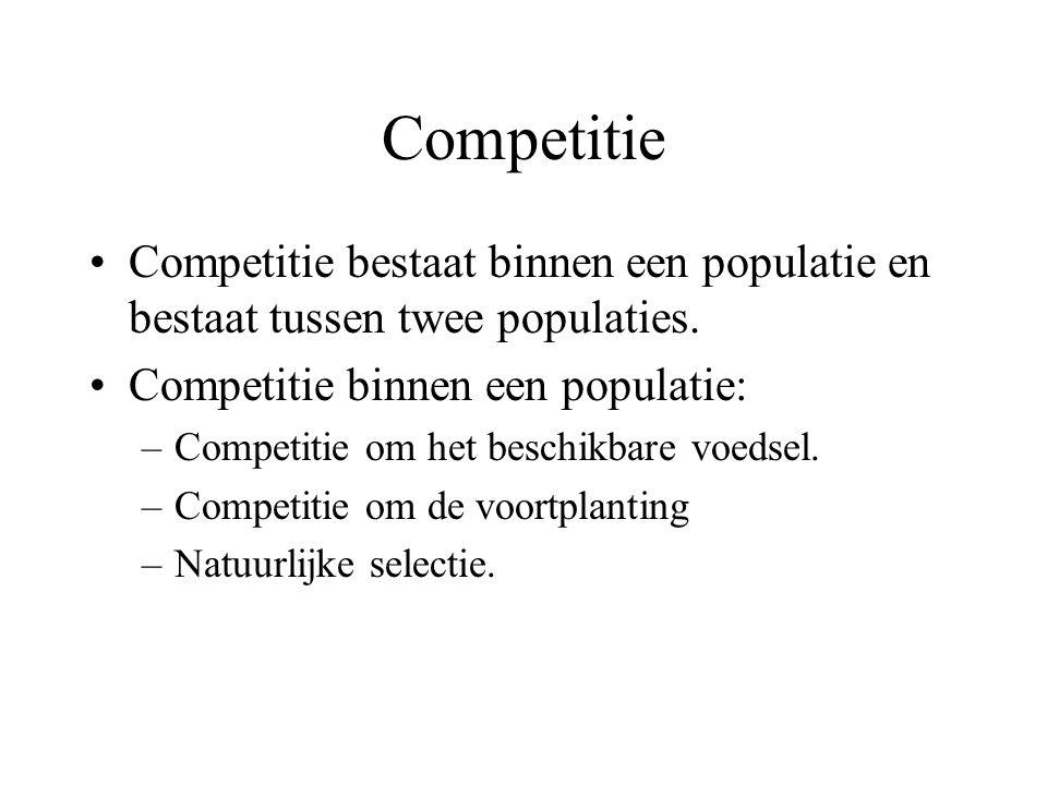 Competitie Competitie bestaat binnen een populatie en bestaat tussen twee populaties.