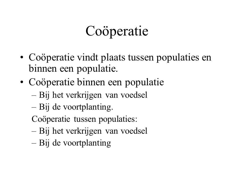 Coöperatie Coöperatie vindt plaats tussen populaties en binnen een populatie.