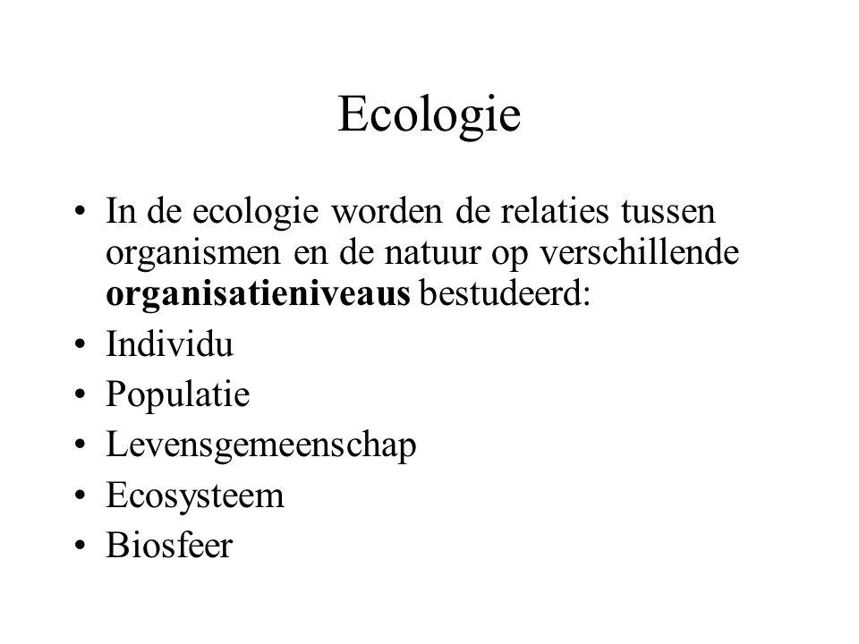 Ecologie In de ecologie worden de relaties tussen organismen en de natuur op verschillende organisatieniveaus bestudeerd: Individu Populatie Levensgemeenschap Ecosysteem Biosfeer
