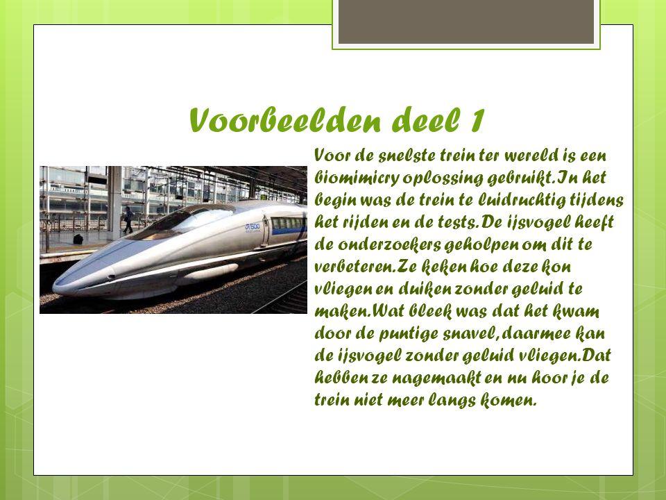 Voorbeelden deel 1 Voor de snelste trein ter wereld is een biomimicry oplossing gebruikt. In het begin was de trein te luidruchtig tijdens het rijden