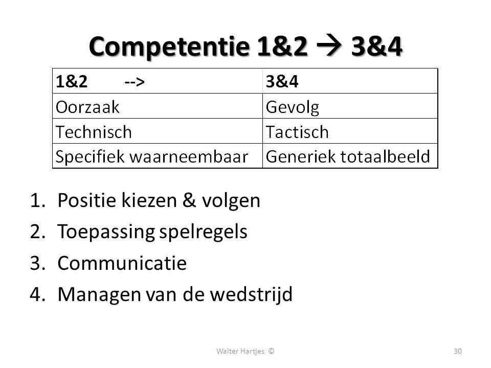 Competentie 1&2  3&4 1.Positie kiezen & volgen 2.Toepassing spelregels 3.Communicatie 4.Managen van de wedstrijd 30Walter Hartjes ©