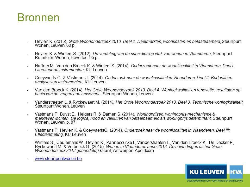 Bronnen -Heylen K. (2015), Grote Woononderzoek 2013. Deel 2. Deelmarkten, woonkosten en betaalbaarheid, Steunpunt Wonen, Leuven, 60 p. -Heylen K. & Wi