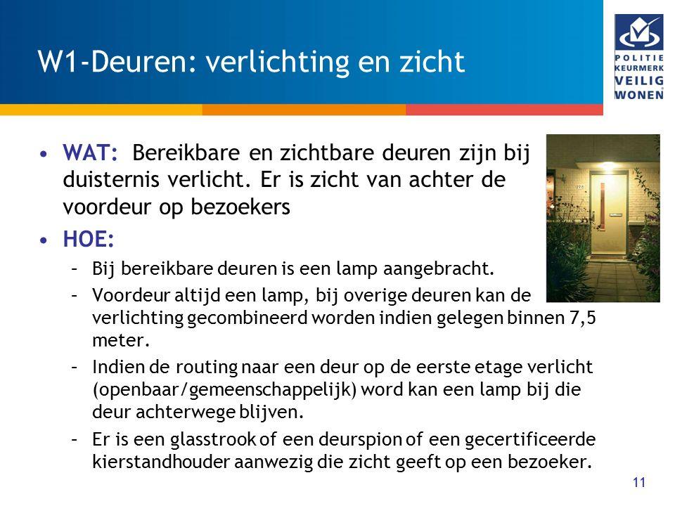 11 W1-Deuren: verlichting en zicht WAT: Bereikbare en zichtbare deuren zijn bij duisternis verlicht. Er is zicht van achter de voordeur op bezoekers H