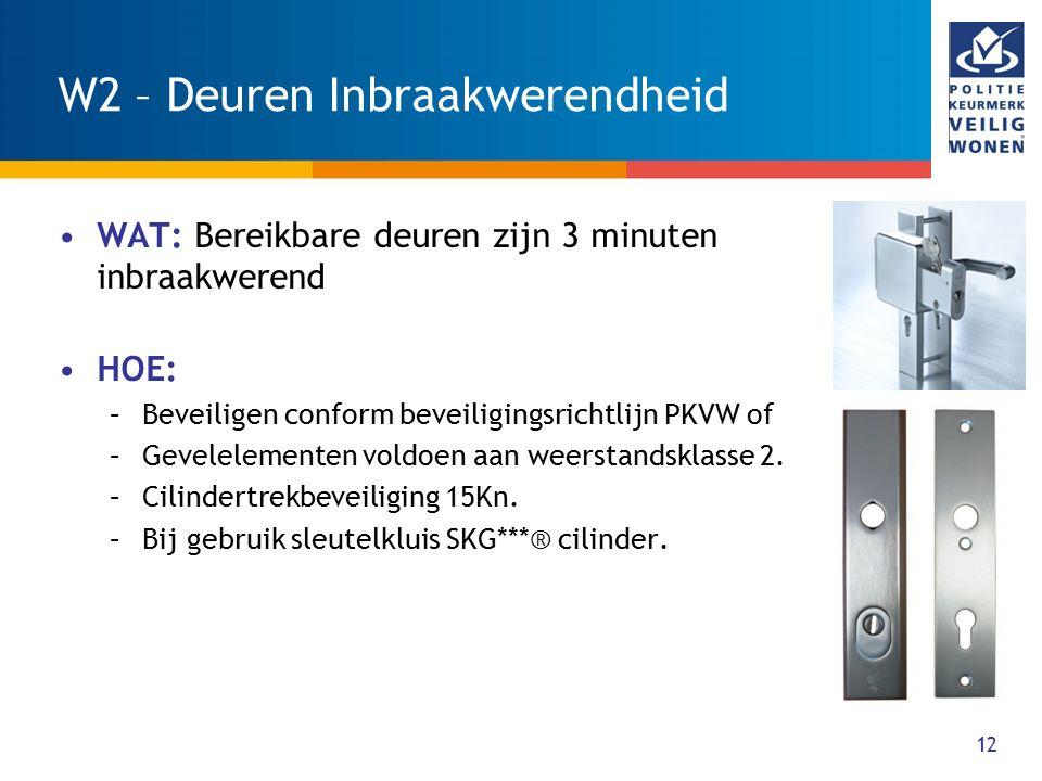 12 W2 – Deuren Inbraakwerendheid WAT: Bereikbare deuren zijn 3 minuten inbraakwerend HOE: –Beveiligen conform beveiligingsrichtlijn PKVW of –Gevelelem